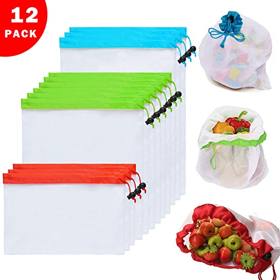 12PCs Premium Reusable Mesh Produce Bags