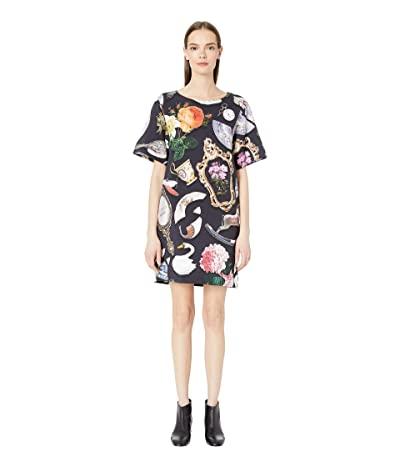 Boutique Moschino Short Sleeve Allover Print Shift Dress (Grey Multi) Women