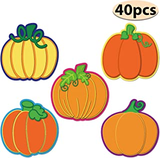 40 Pieces Pumpkin Colorful Cutouts Classroom Decoration Pumpkin Cutouts with Glue Point Dots for Bulletin Board Classroom School Fall Theme Thanksgiving Party, 5.9 x 5.9 Inch