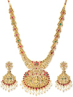 Zaveri Pearls Pink & Green Stones Goddess Laxmi Temple & Peacock Necklace & Earring Set For Women-ZPFK9551