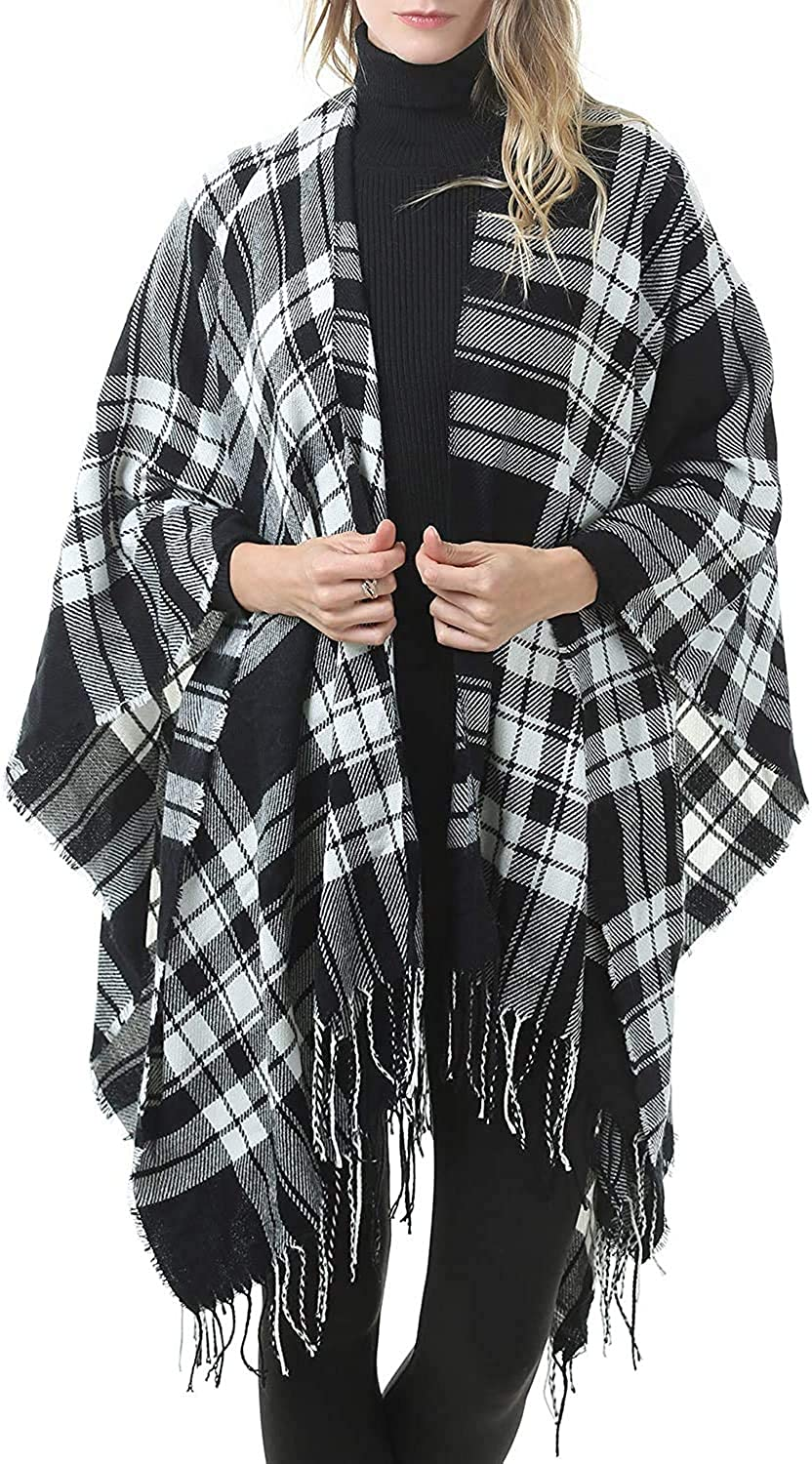 Luxurious Scarf Soft Scarf Neck Warmer MKLP Tassel Scarf Winter Ladies Scarf Large Warm Shawl Plaid Scarf Large Shawl Keep Warm and Prevent Cold Fringed