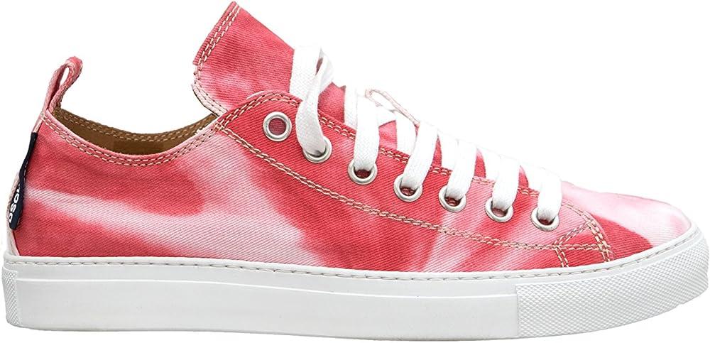 Dsquared2, sneakers per uomo, canvas batik,in tessuto rosso chiaro sfumato bianco