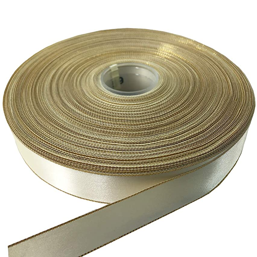 PartyMart 1 inch Satin Ribbon with Golden Edges, 100 Yards, Ivory