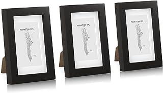 Classic by Casa Chic Paquete de 3 Marcos de Fotos 10 x 15 cm con Paspartú para Fotos 7 x 11 cm - Madera de Pino - Frente de Vidrio - Color Negro
