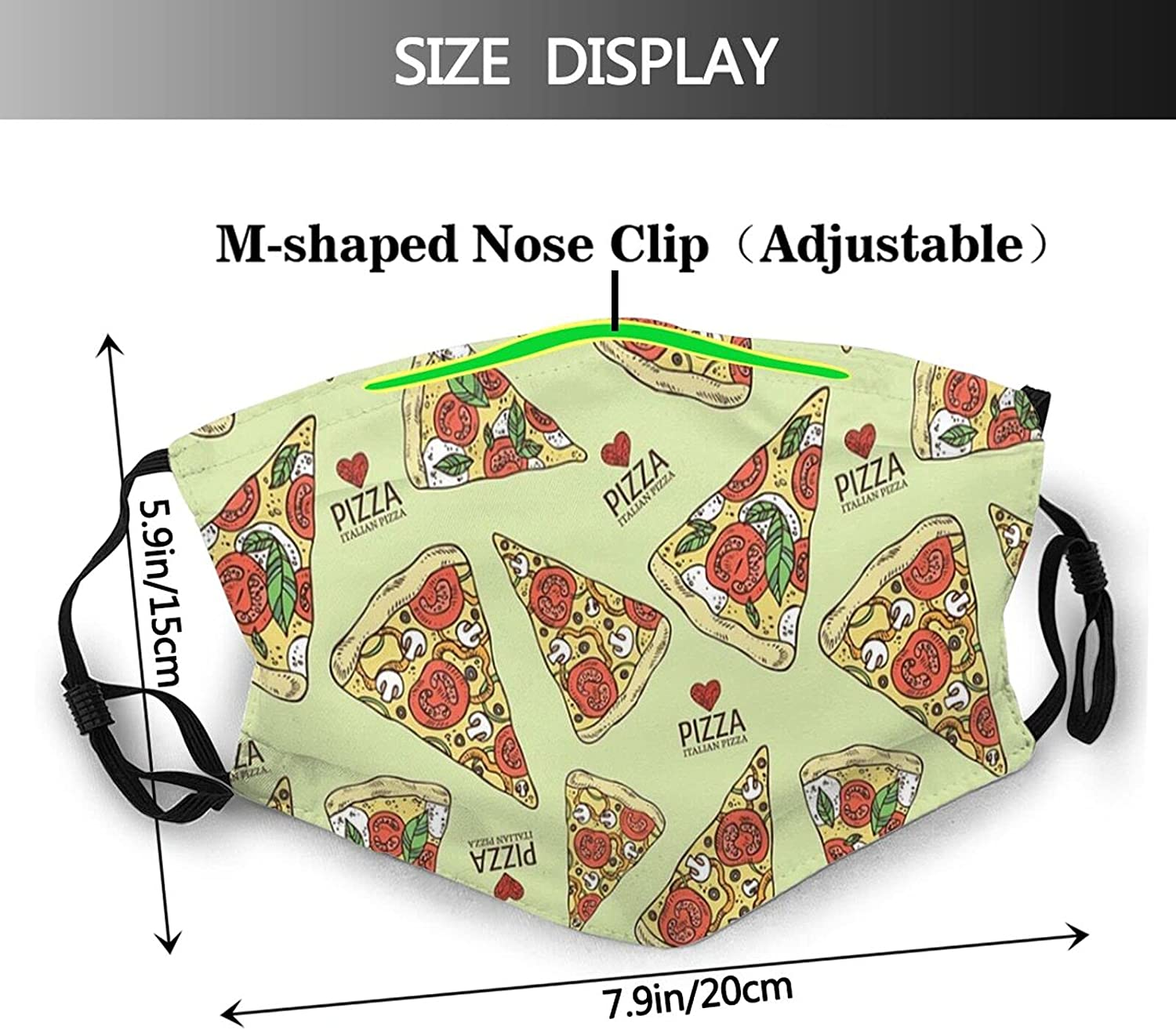 Funny Food Pizza Face Mask for Men Women &Teenager Washable Breathable Bandanas Balaclava with 2 Filters