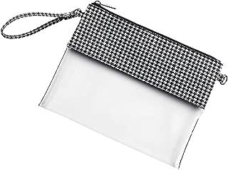 Houndstooth Clear 10 x 8 Polyester and Acrylic Cross Body Stadium Handbag Purse