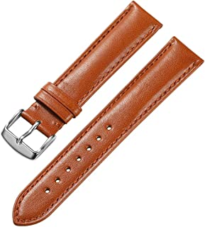 18 19 20 21 22 24mm Genuine Calfskin Leather Watch Band Padded Strap Steel Spring Bar Buckle Super Soft(Six Color Choose)