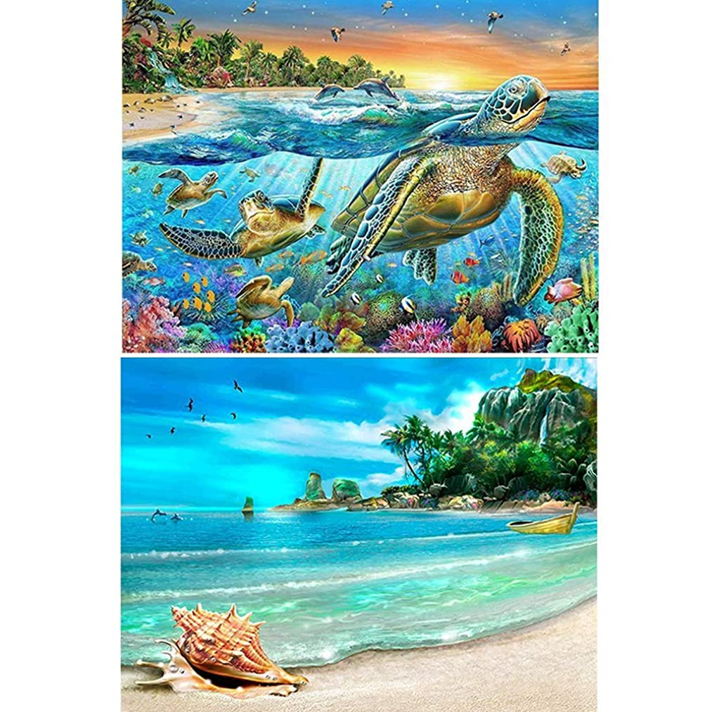 DIY 5D Diamond Painting Kits for Adults Full Drill Rhinestone Embroidery Painting with Diamonds Arts Crafts for Home Wall Decoration 11.8×15.7 Inches (Turtle&Sea)