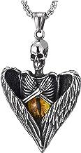 COOLSTEELANDBEYOND Hombre Mujer Acero Vintage Calavera Cráneo Esqueleto ala del ángel Corazón Collar con Colgante con Amarillo Mal de Ojo