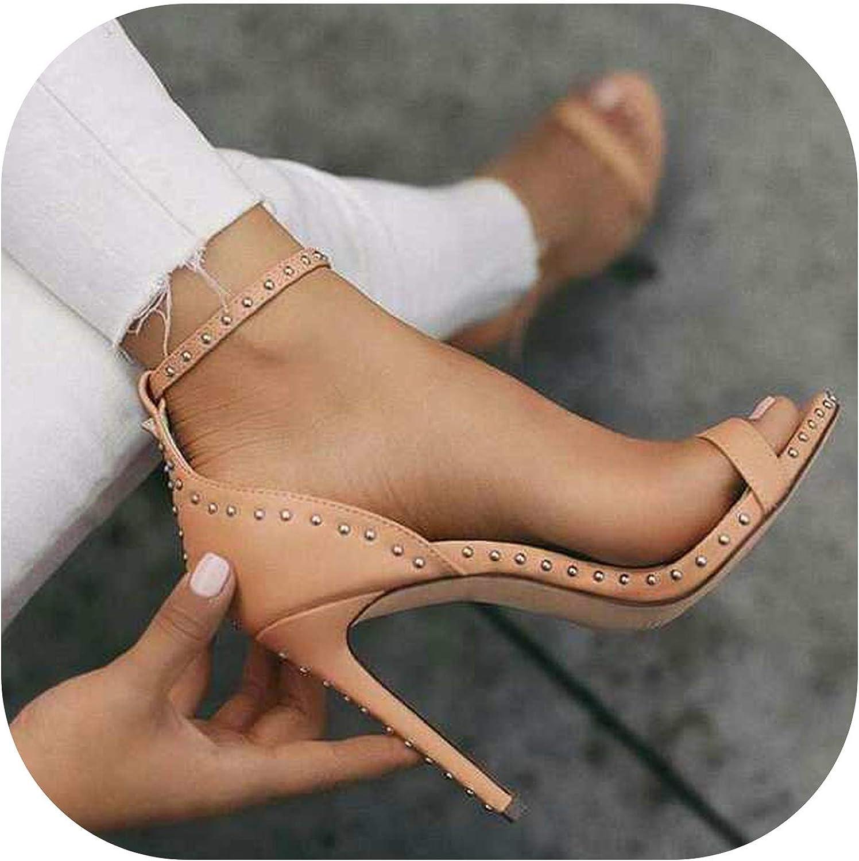 Alerghrg High Heels Pumps shoes Rivet shoes Sandals Women f179