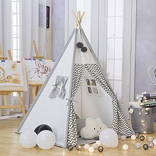 TreeBud Teepee lektält för barn – bomullsduk barn indiskt teepee tält med grå sparre lekstuga för barn inomhus utomhus med...