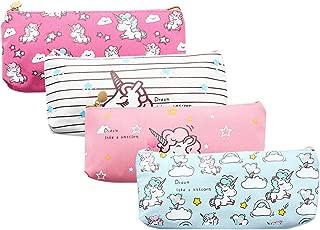 Unicorn Pen Holder Makeup Bag Organizer Canvas Pencil Pouch Zipper Stationery Purse Cute Wallet Portable Cosmetic Bags Travel Small Brush Storage Case 4PCS (Unicorn)