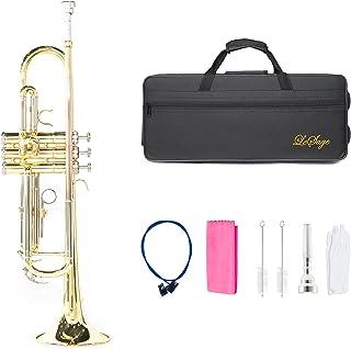 LeSage Brass Trumpet Gold Standard B Flat Trumpet for Student Beginner intermediate Bb Trumpet with Case Gloves 7C Mouthpi...