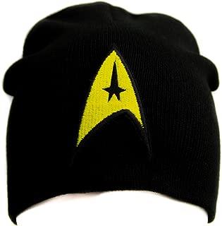 Starfleet Enterprise Captain Badge Star Trek Embroidered Beanie Knit Cap United Federation of Planets Black