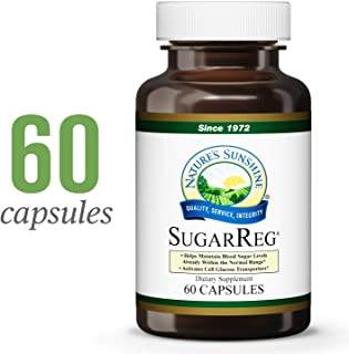 Nature's Sunshine SugarReg, 60 Capsules | Supports Already-Normal Range Blood Sugar Levels, Activates Cell Glucose Transporters, and Supports The Liver
