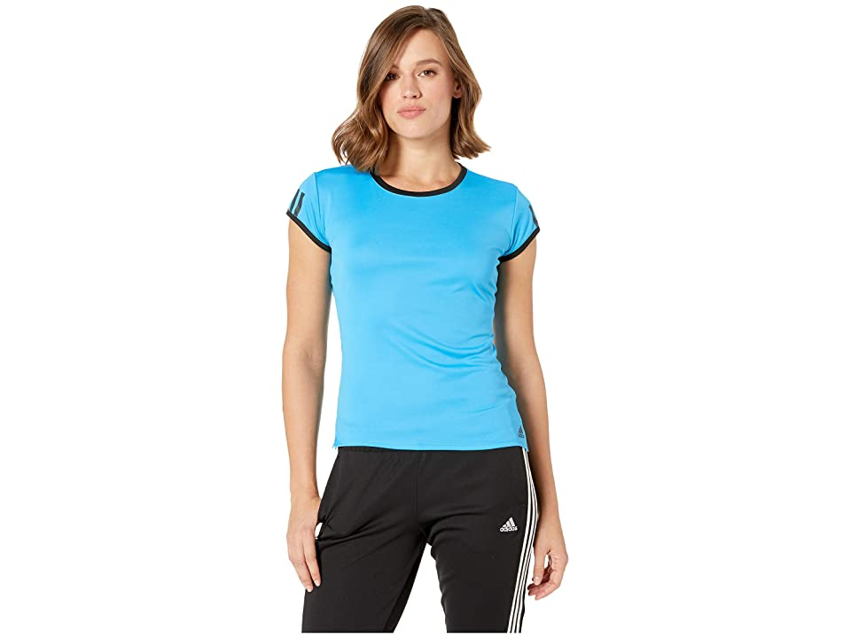 adidas Club 3-Stripes Tee (Shock Cyan) Women's T Shirt, Blue