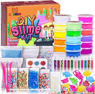 MOOHAM DIY Slime Kit Supplies - Clear Crystal Slime Making Kit for Girls, Floam Slime for Kids, Slime Foam Beads, Glitter , Fruit Slices and Fishbowl Beads Included