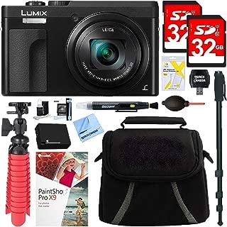 Panasonic DMC-ZS70K Lumix 20.3 Megapixel 4K Digital Camera Black Bundle with 2X 32GB Memory Card, Monopod, 650mAh Battery, Camera Bag, Mini Tripod and Paintshop Pro 2018 (Digital Download
