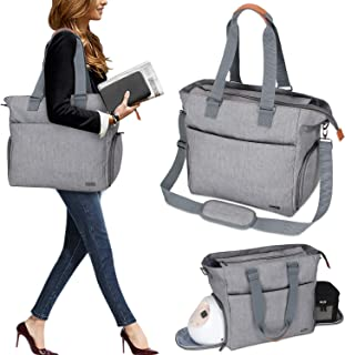 Luxja Breast Pump Tote with Pockets for Laptop and Cooler Bag, Breast Pump Bag for Working Mothers (Fits Most Major Breast Pump), Gray