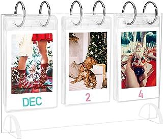 WINKINE Desktop Mini Photo Album Collection|Acrylic Tabletop Flip Calendar-Style Photo Frame|for Instax Mini 7s 8+ 9 25 26...