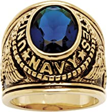 Men's 14K Yellow Gold Plated Antiqued Oval Cut Simulated Blue Sapphire United States Navy Ring
