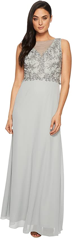 Adrianna Papell - Sleeveless Beaded Bodice Gown with Sheer V-Neck Line