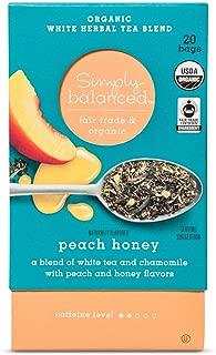 Simply Balanced Organic White Herbal Tea Blend Peach Honey 1.27 OZ- 20 tea bags (One Pack)