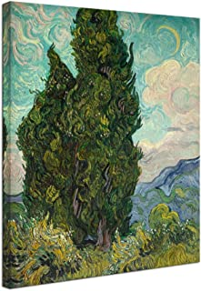 Wieco Art Cypresses Classic Giclee Canvas Prints Wall Art by Van Gogh Famous Oil Paintings Reproduction Green Tree Picture Ready to Hang for Home Decorations Modern Abstract Forest Landscape Artwork