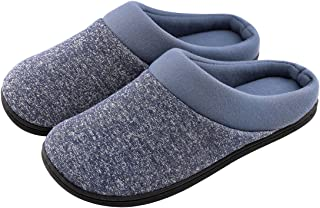 20a696a02363 HomeTop Men s Comfort Breathable Cotton Memory Foam House Slippers Slip On  Shoes Indoor Outdoor