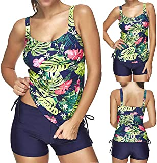 34989227dd994 Haluoo Swimsuit Women Floral Printed Top with Short Bottom Tankini Set  Boyshort Sporty Style Two Piece