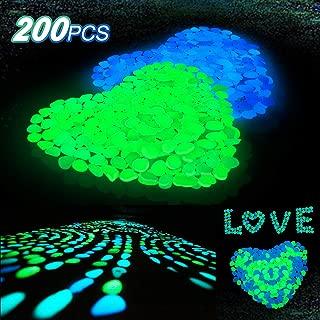 Averill Bay 200 Pcs Glow in The Dark Rocks/Pebbles for Walkways and Decor in Bule & Green, Glowing Resin DIY Decorative Rocks for Driveway/Pathway/Flower Bed/Garden/Fish Tank/Aquarium/Landscape