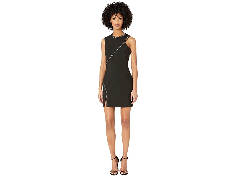 Versace Collection Woven Candy Stretch Dress with Crystal Seam Detail (Black) Women