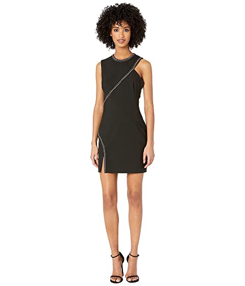 Versace Collection Woven Candy Stretch Dress with Crystal Seam Detail