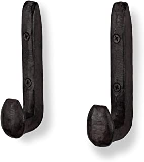 Rustic State Puntal Wall Mount Coat Hanger Hooks Multiuse Entryway Railroad Spike Rack Cast Iron Towel Hanger Black Set of 2