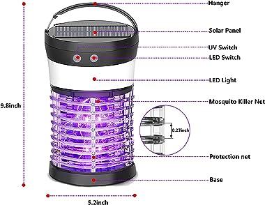 Qremove Solar Powered Bug Zapper,Pest Control Waterproof UV Mosquito Zapper Portable Mosquito Zapper for Indoor & Outdoor