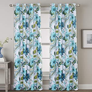 H.VERSAILTEX Blackout Grommet Curtains for Bedroom Living Room 84 Inches Length Elegant Paisley Floral Pattern Thermal Insulated Drapes Blue (2 Panels, 52