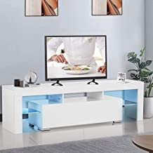 UINKISY White TV Stand, Modern Colors LED TV Stand w/Storage & 1 Center Drawers, High Gloss TV Stand for Up to 55 Inch TV ...