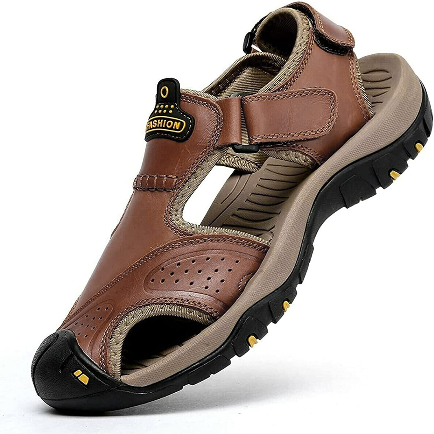 Today's only Bomden Gorgeous Outdoor Mens Sandals Non-Slip Anti-Kick Leather