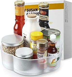LSAIFATER Lazy-Susan-Carousel, Plateau tournant de Cuisine en Forme de Fleur en Plastique dépoli, idéal comme Support à ép...