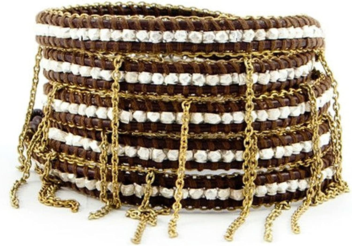 Heng Heng  Vintage Style Friendship Weaving Leather Five Wrap Natural Stone Beads With Chains Bracelet CLJ235  HNGBG000311