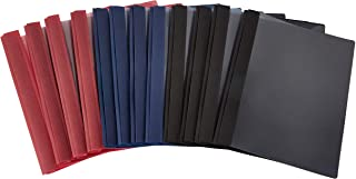 Amazon Basics Letter Size Clear Front Textured Poly Report Cover with Metal Prong - 12-Pack, Assorted Black, Navy and Red