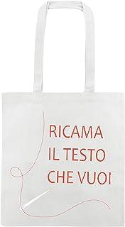My Custom Style 100 Shopper Personalizzate Ricamo Cotone 240gr Bianco 38x42 M70