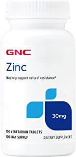 GNC Zinc 30mg, 100 Tablets, Supports Natural Resistance in Immune System