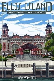 Ellis Island National Monument - New York City - Building Exterior (12x18 Fine Art Print, Home Wall Decor Artwork Poster)
