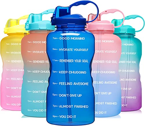 Venture Pal 64 OZ Water Bottle with Motivational Time Marker & Straw - Leakproof BPA Free Reusable Flip Top Water Bot...