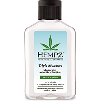 Hempz Triple Moisture Herbal Moisturizing Hand Sanitizer, 2.25 oz. - Scented Antibacterial Gel for Hands - Kills 99% of Germs, Grapefruit Fragranced Antiseptic with Skin Hydration