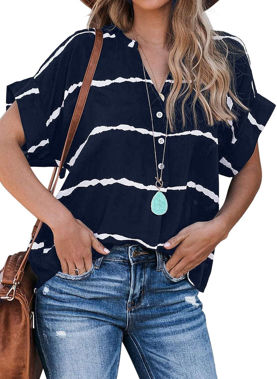 Chase Secret Women's Short Sleeve Crewneck Tee Shirts Summer Casual Loose T-Shirt Blouse Tops