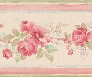 Hot Pink Roses Beige Floral Wallpaper Border Retro Design, Roll 15' x 3.5''