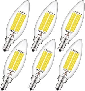 CRLight 6W LED Candelabra Bulb 4000K Daylight White, 70W Equivalent 700LM Dimmable, E12 Base Vintage Edison Style Clear Glass B10 Candle Torpedo Shape Bullet Top LED Chandelier Light Bulbs, Pack of 6