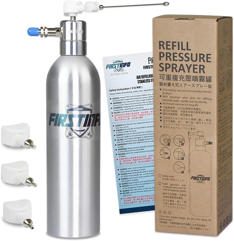 FIRSTINFO A1632Y4 | 650ml | Lata de aluminio | Pulverizador de aire a presión recargable | Con 4 tipos de boquillas diferentes